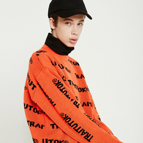 트라이투톡 T38F MULTI LOGO KNIT MTM(ORANGE)