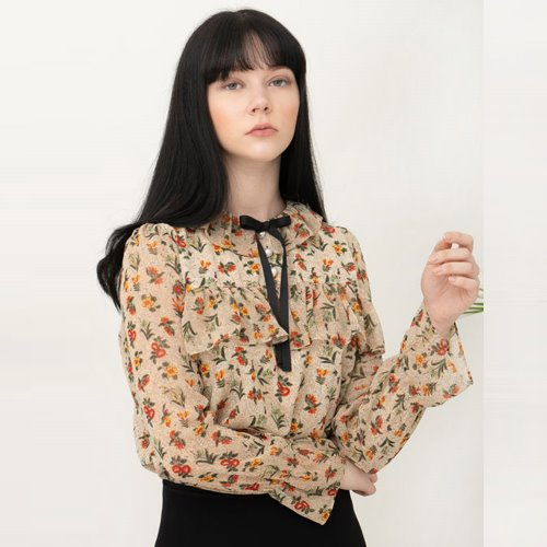 민타레트로 Haley Flower Blouse