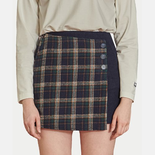 매치글로브 MG9F CHECK WRAP PANTS SKIRTS(NAVY)