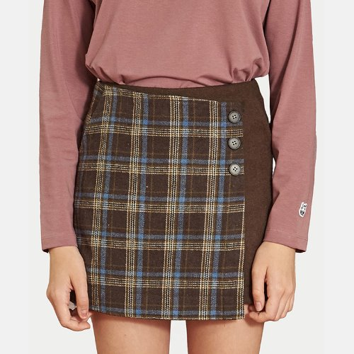 매치글로브 MG9F CHECK WRAP PANTS SKIRTS(BROWN)