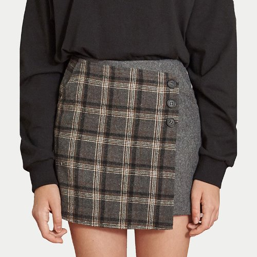 매치글로브 MG9F CHECK WRAP PANTS SKIRTS(GRAY)