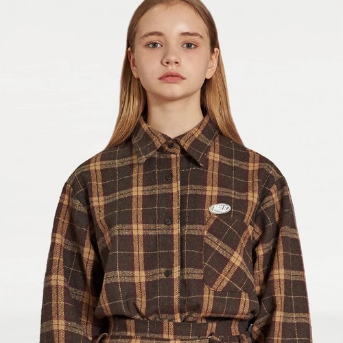 매치글로브 MG9F OVERSIZE CHECK SHIRT(BROWN)